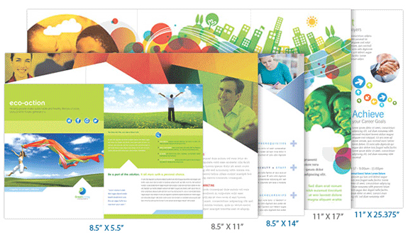 Standard brochure printing sizes for Brochure size template