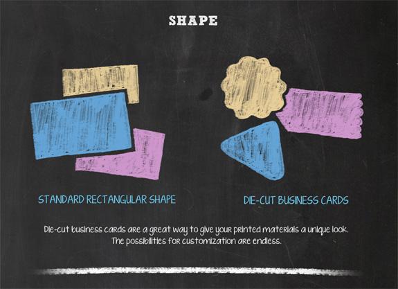 Business card designs shape