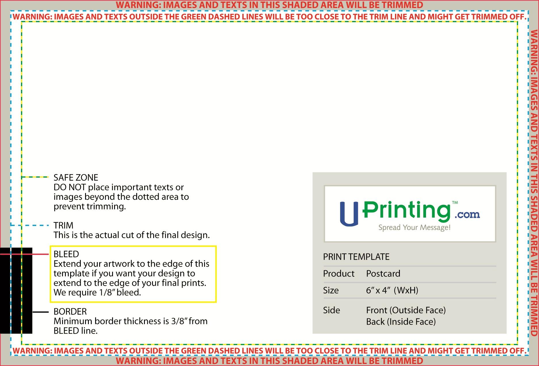 Standard Postcard Size Template - 6x4 postcard template