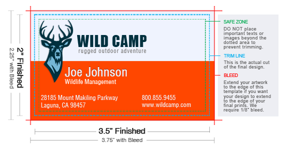 Standard Business Card Size UPrintingcom - Business card size template